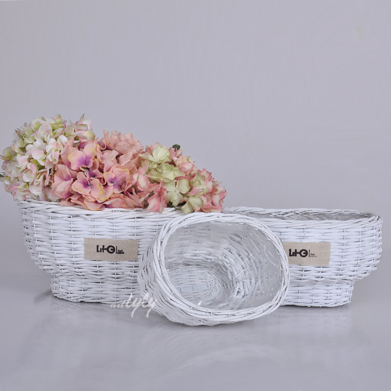 Wholesale white outdoor wicker flower plant pot, wicker basket