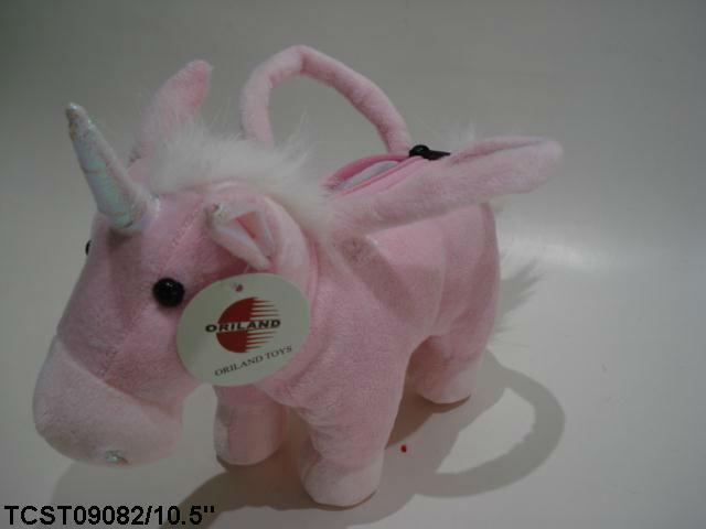 Oriland Embroidery cute lovely unicorn plush toy bag