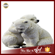 life-size marble animal bear sculpture for decoration