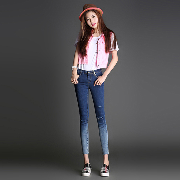 2016 Summer Fashion High Quality Dip Dye Raw Hems Women Pants Sexy Skinny Ripped Jeans