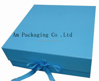 blue paper gift packaging foldable ribbon box