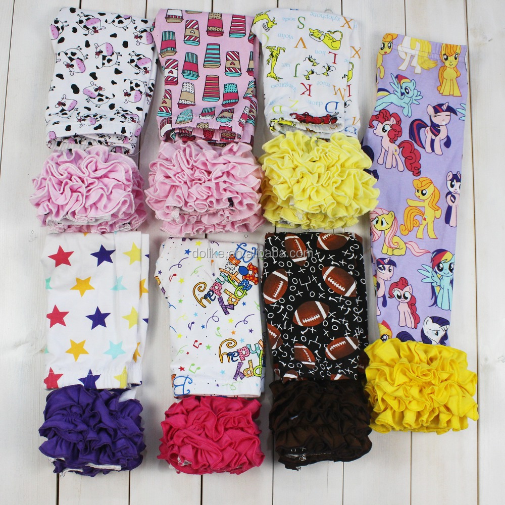 High quality kids triple ruffle icing leggings wholesale cute print baby ruffle pants