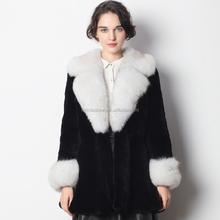 Genuine Black Rex Rabbit Fur Jacket with Fox Fur Collar and Cuff with Cheap Price