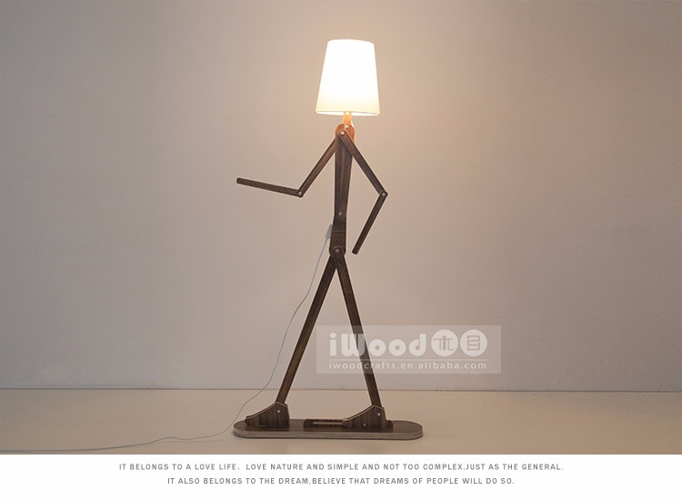 Unique design flexible wooden floor lamp funny matchman wood lamp