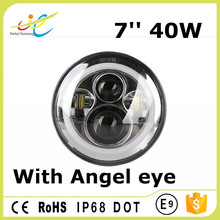 Chinese manufacturer DRL round 7'' 40 watts angel eyes led driving headlamp with high low beam