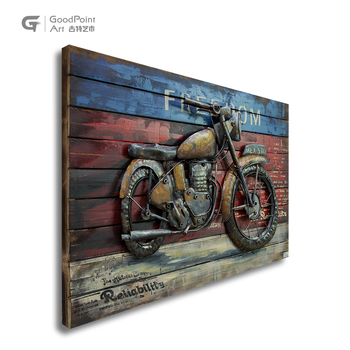 Room decoration accessories wall art modern painting 3d motorcycle wall art