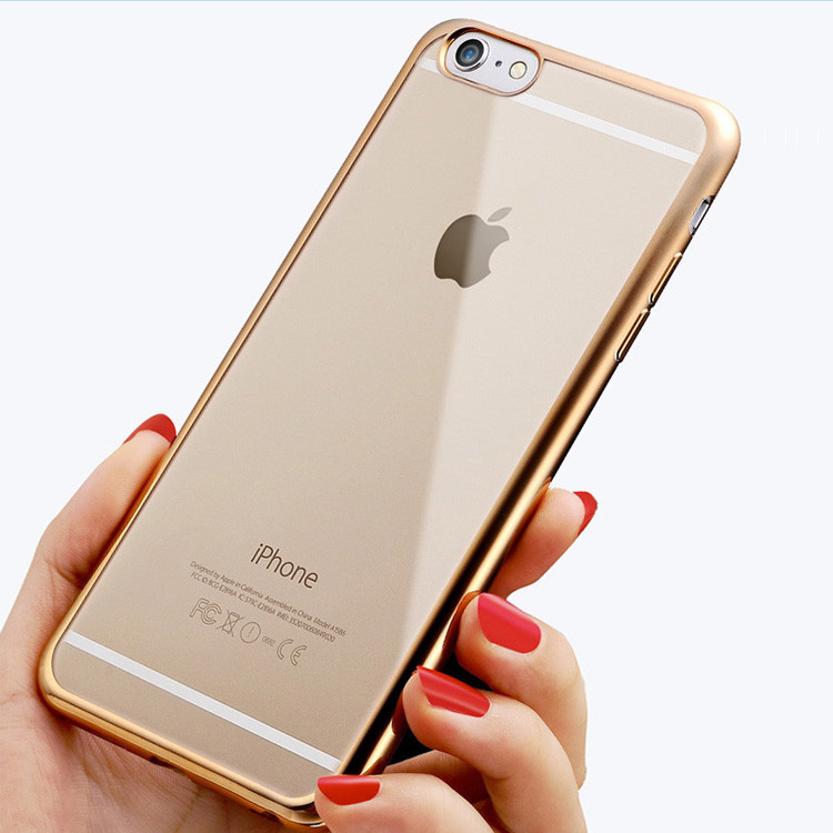 High Quality Chrome Transparent Soft TPU Mobile Phone Cover Case for iPhone 5 6 6plus 7 7plus 8 8plus X