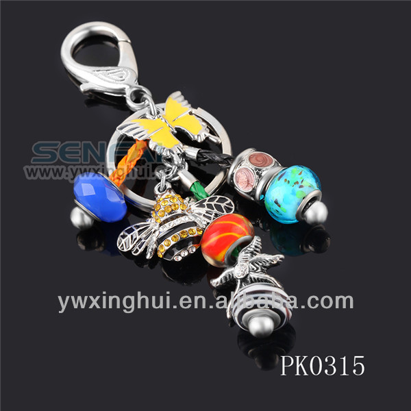 New product 2015 crystal butterfly keychain, alloy bead key chain, bee keychain