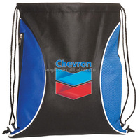 polyester material and pouch style custom logo printed drawstring sports bag