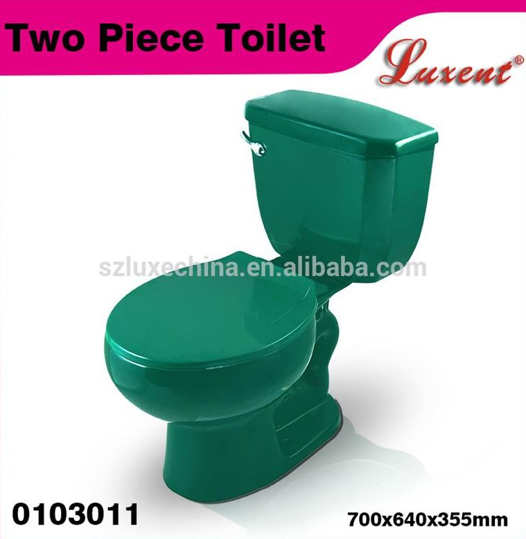 new design round shape floor mounted coloured two piece toilets for sale with great price