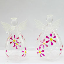 delicate design transparent angel decoratiom crystal blown stained glass angel