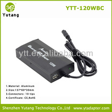 120W laptop charger 15v-24v universal auto power charger in car 12v dc car laptop charger
