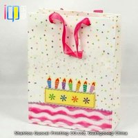 Bulk colorful candles pattern paper goodie bags with cotton rope