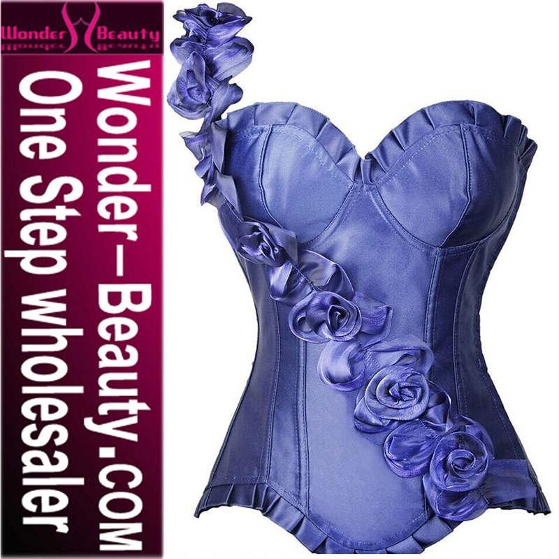 2016 Hot Sex Blue Photo Corset Whith Flower Blue Corset