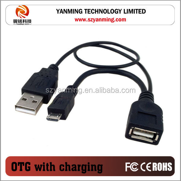 USB A Female to Micro USB Host OTG splitter cable With USB Power Supply