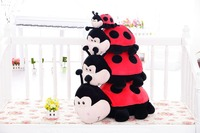 20cm/30cm/45/55/65cm beautiful customized stuffed red plush lady beetle/ladybug dolls toy with applique embroidered black circle