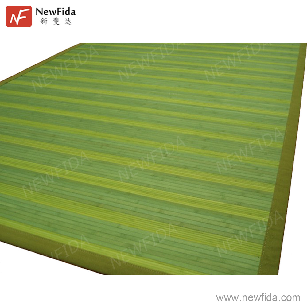 Eco-friendly 5 x 9 Ft. Trim Stripe Forest Green Apple Green Bamboo Modern Carpets Rugs