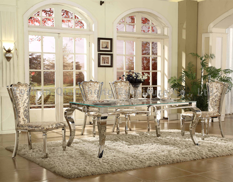 elegant seel frame 8 seaters glass top dining table set