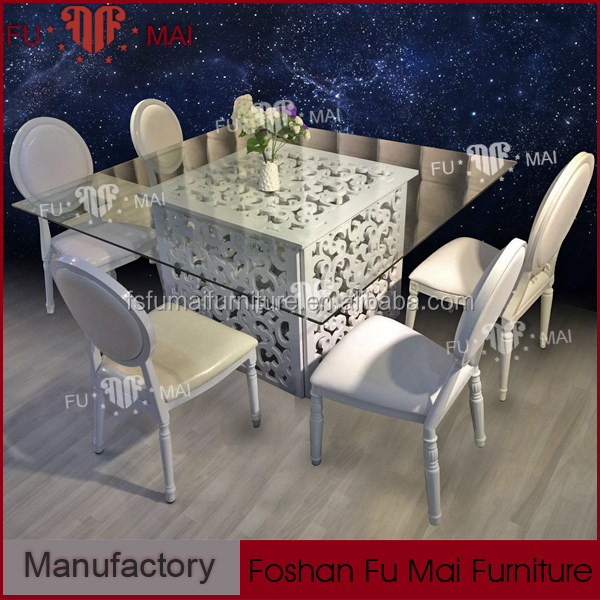 Pattern carved wood dining table , tempered glass top modern wood furniture