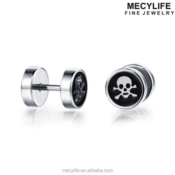 MECYLIFE thrilling skull head for man stainless steel stud earring silver earrings