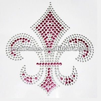 Custom Fleur De Lis Rhinestone Nailhead Iron On Heat Transfer for Shirts or Accessories