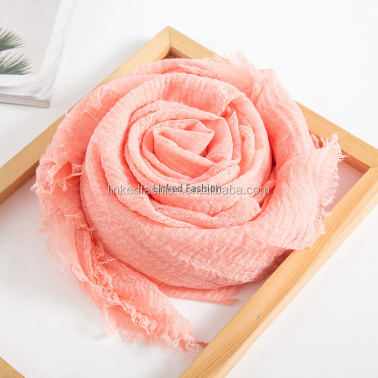Solid Color Cotton Pleated Plain 100*190cm Large Size Scarf With Fringe Muslim Ladies Hijab