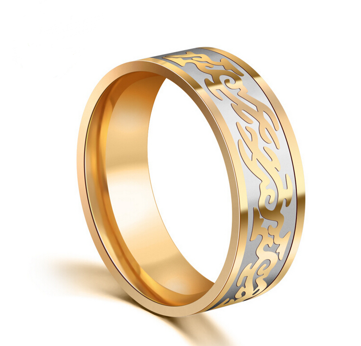 stylish finger rings high quality stainless steel engrave dragon dubai gold rings mens jewelry