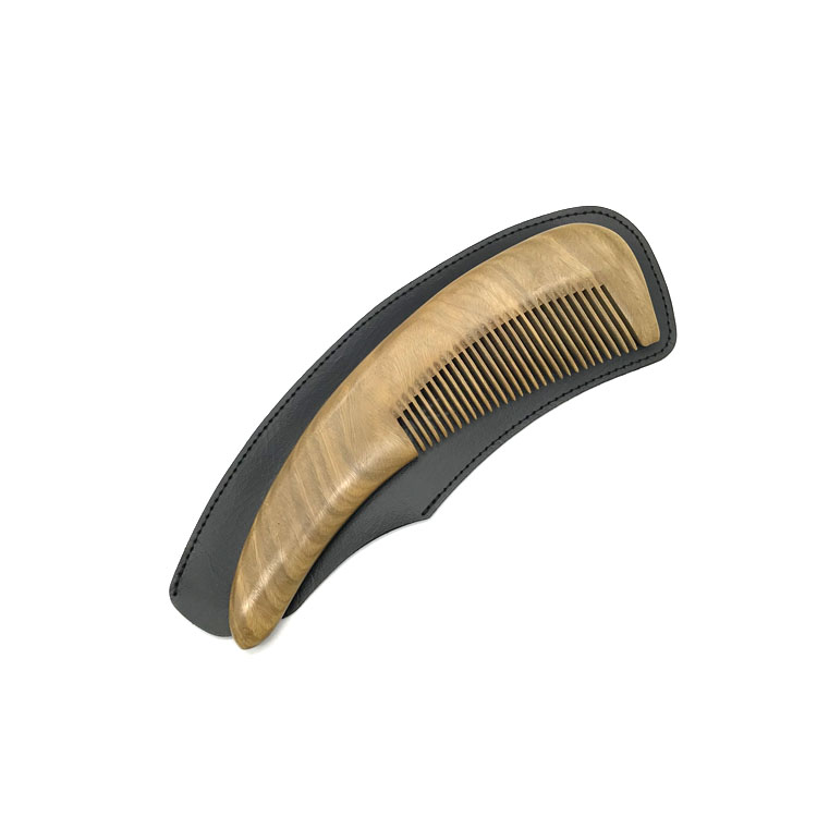 New products green sandalwood curved beard comb set