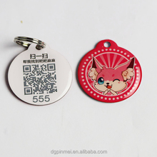 Hot !!! stainless iron high quality printing logo qr pet tags / pet pendant with epoxy coated