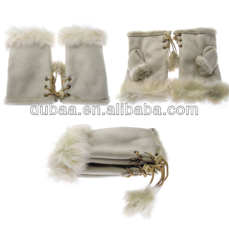 Fur Fingerless Mittens Winter Gloves n Mittens Warm Keeping Driving Gloves,Women Fingerless Stylish Leather Gloves