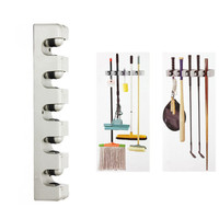 2015 Hot Sale Newest Plastic Wall Mounted mop holder rack 5 Position Kitchen Storage Mop Broom Organizer Holder Tool