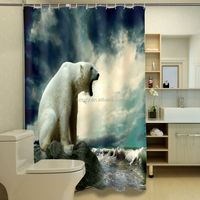 New wholesale waterproof shower curtain 3d home designs with giant howling bear