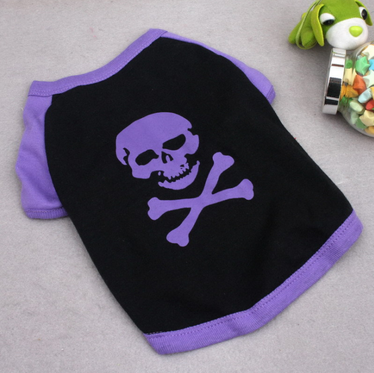 Popular skull design dog clothes small dog t-shirt Casual cotton dog sweater