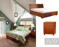 Wooden furniture golden cherry colour 1.8m bed dimora bedroom set
