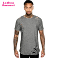 Hot sale new blank distressed t shirts men longlne t shirt