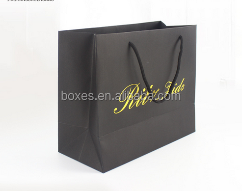 Custom Printing Decorative Gold Stamping Luxury Gift Black Paper Bag with Logo