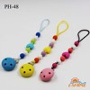 silicone beads chain wood material holder colorful baby pacifier clip