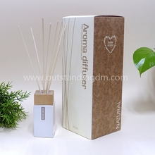 Decorative Reed Diffuser With Nature Reeds And White Glass Bottle