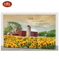 Red Barn with Sunflower LED Lighted Canvas Painting for Living Room Decoration