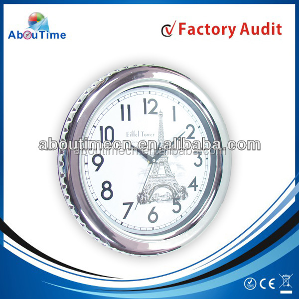 12 Inch round design antique clock with young town quartz clock movements wholesale wall clock