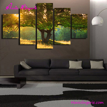 Green forest tree large pictures beautiful scenery wall painting