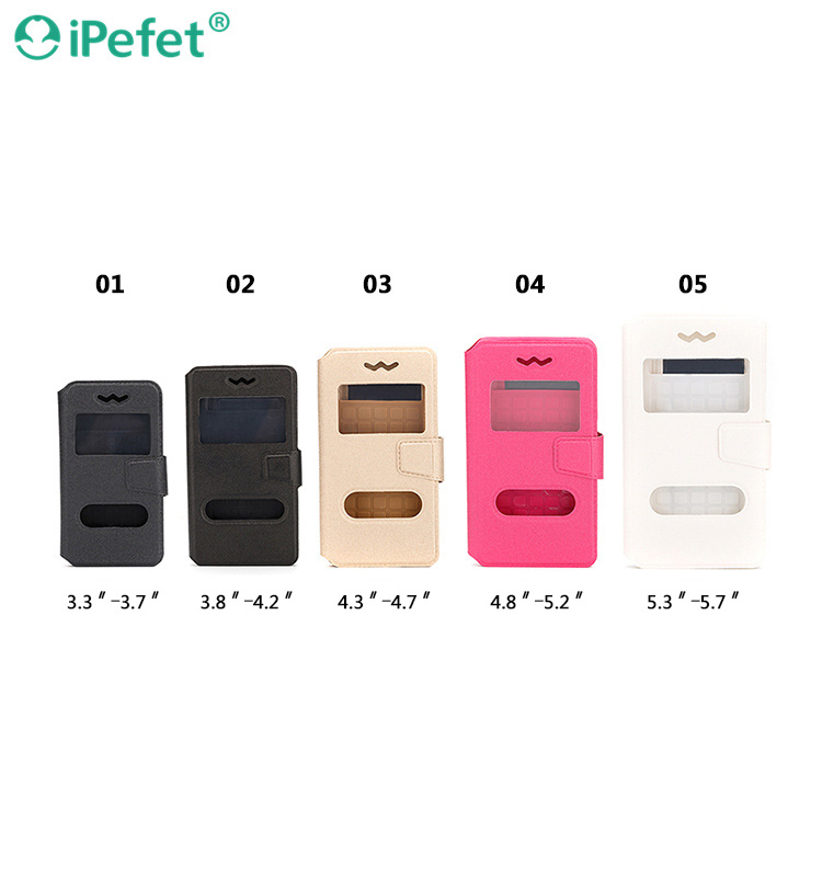 Universal Smart View Window Flip Leather Mobile Phone Case For iPhone For Samsung Galaxy S6
