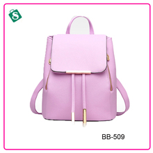 PU leather casual women bag solid color trendy backpack
