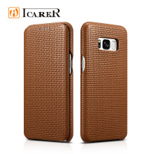 ICARER 2017 Woven Pattern Leather Flip Phone Case for Samsung Galaxy S8 S8 plus