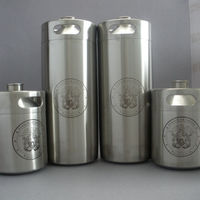 Stainless steel beer bottle for beer growler with etched logo