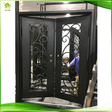 Flat top wrought iron exterior metal front doors with iron and glass