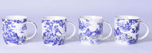 white and blue mugs
