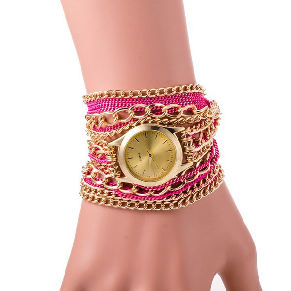 Multicolor Fashion Antique Luxury Metal Chain Band Quartz Wrapped Bracelet Women Watch