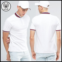 Wholesale 100% cotton embroidered logo custom Polo t shirt with striped collar and cuffs