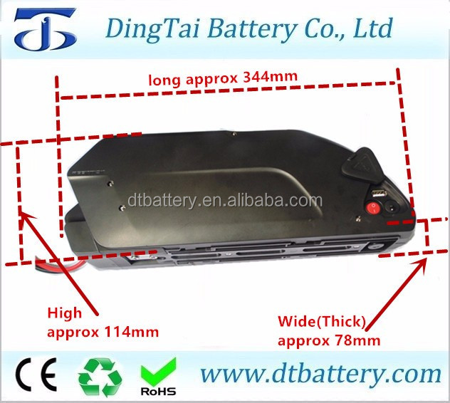 wholesale ebike li-ion battery 36v 11ah 10s5p tiger shark down tube battery